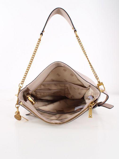 Inside image of Guess Destiny Hobo Strap Shoulder Bag in Taupe