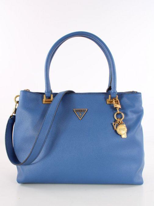 Front image of Guess Destiny Strap Shoulder Bag in Blue
