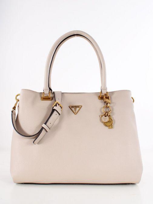 Front image of Guess Destiny Strap Shoulder Bag in Taupe