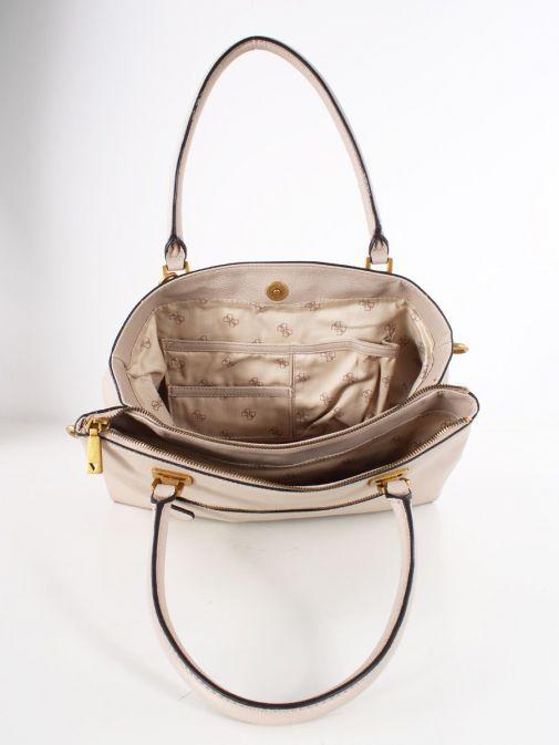 Inside image of Guess Destiny Strap Shoulder Bag in Taupe