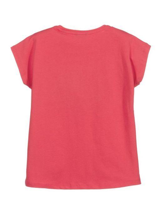 Back shot of Guess Diamante Logo T-Shirt in Pink