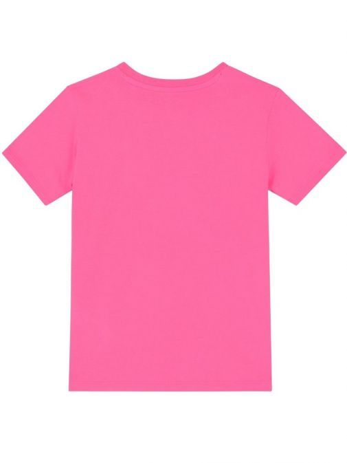 Back Image of Guess Fluorescent Triangle Logo T-Shirt in Pink