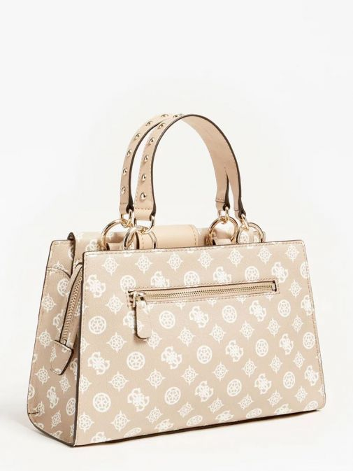 back shot of the Guess Greta 4G Peony Logo Handbag in the Beige colour featuring long strap, handle, flap opening and 4G Peony Logo