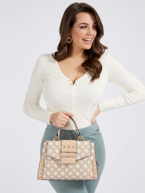 front model shot of the Guess Greta 4G Peony Logo Handbag in the Beige colour featuring long strap, handle, flap opening and 4G Peony Logo