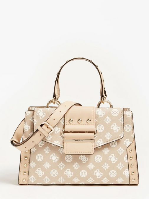 front shot of the Guess Greta 4G Peony Logo Handbag in the Beige colour featuring long strap, handle, flap opening and 4G Peony Logo