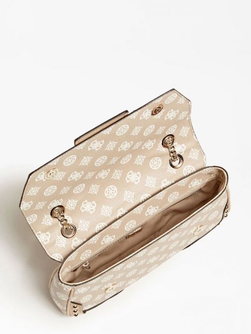 top shot of the Guess Greta 4G Peony Logo Shoulder Bag in the Beige featuring guess logo and peony print and flap opening