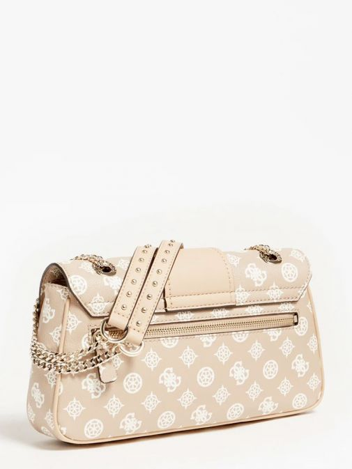 back shot of the Guess Greta 4G Peony Logo Shoulder Bag in the Beige featuring peony print, chain strap and flap opening and zip pocket