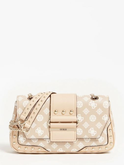front shot of the Guess Greta 4G Peony Logo Shoulder Bag in the Beige featuring guess logo and peony print, chain strap and flap opening