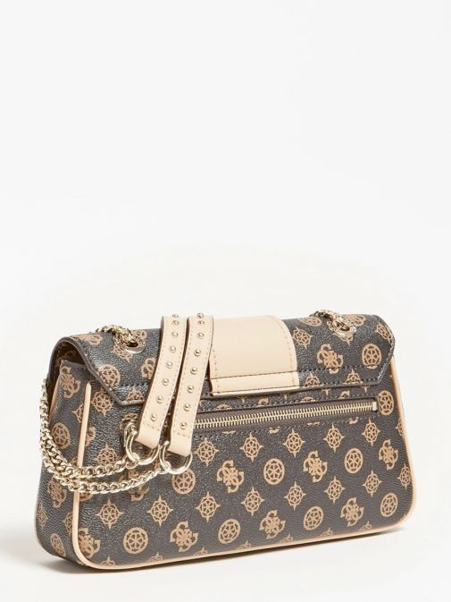 back shot of the Guess Greta 4G Peony Logo Shoulder Bag in the Beige featuring peony print, chain strap and flap opening, zip pocket