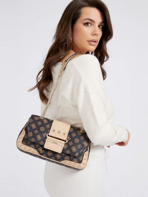 front model shot of the Guess Greta 4G Peony Logo Shoulder Bag in the Beige featuring guess logo and peony print, chain strap and flap opening