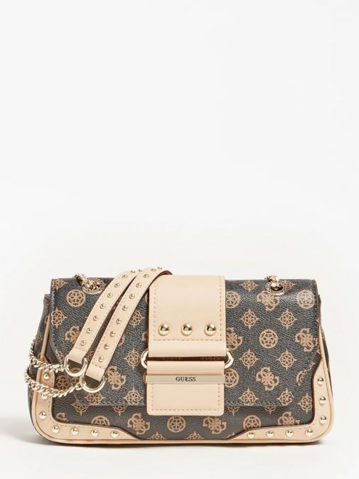 front shot of the Guess Greta 4G Peony Logo Shoulder Bag in the brown featuring guess logo and peony print, chain strap and flap opening