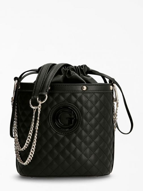 front image of Guess Heyden Quilted Bucket Bag in Black