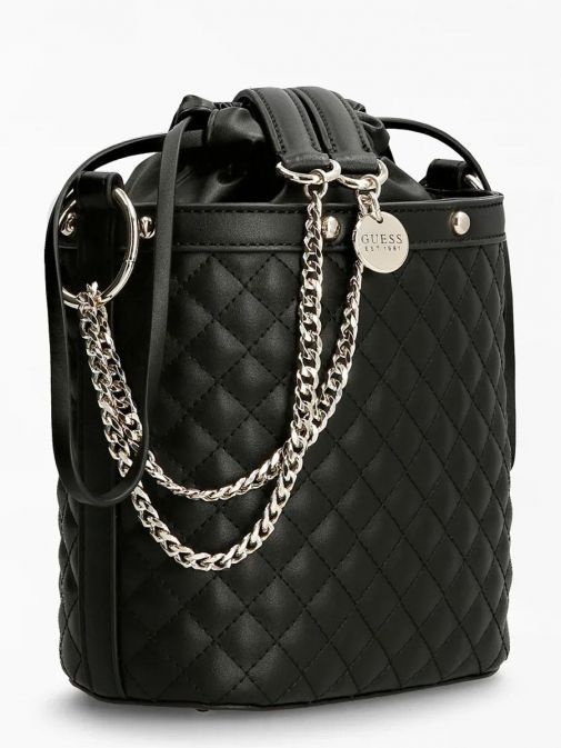 side image of Guess Heyden Quilted Bucket Bag in Black
