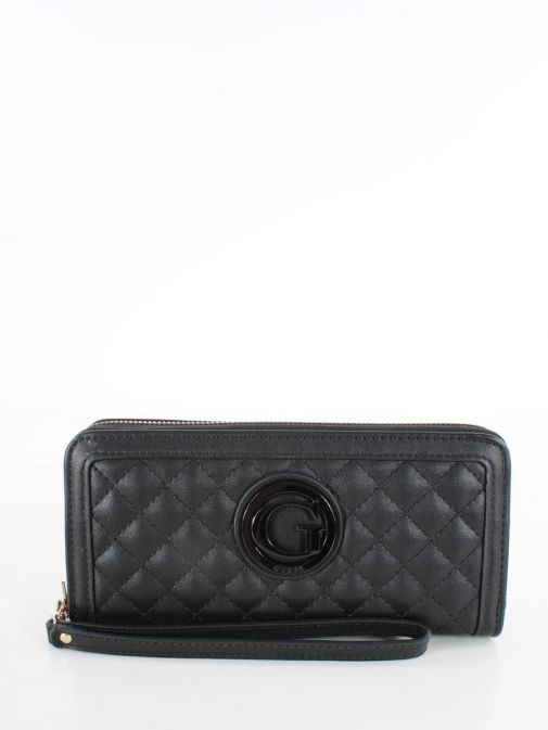 Front image of Guess Heyden Quilted Maxi Wallet in Black
