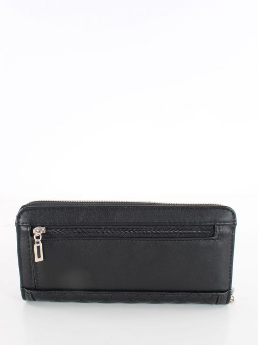 Back image of Guess Heyden Quilted Maxi Wallet in Black