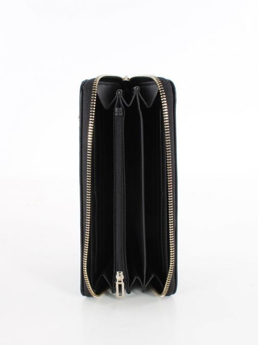 Inside image of Guess Heyden Quilted Maxi Wallet in Black