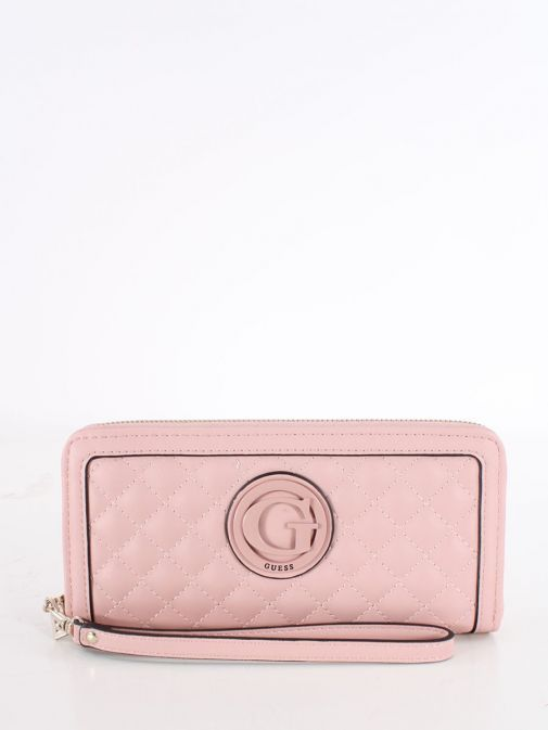 Front shot of Guess Heyden Quilted Maxi Wallet in Pink