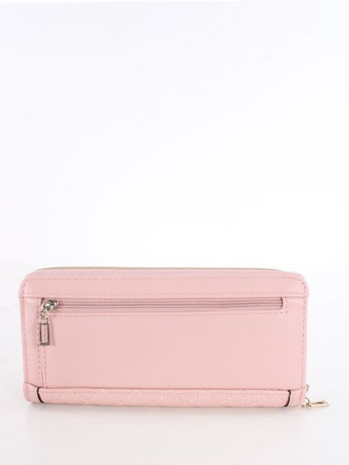 Back shot of Guess Heyden Quilted Maxi Wallet in Pink