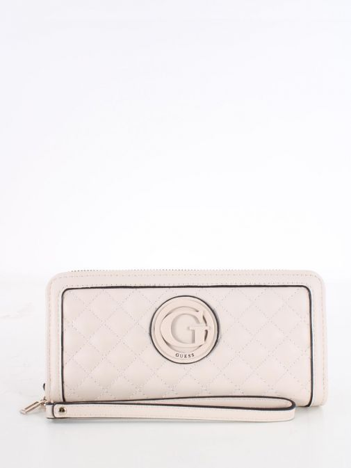 Front image of Guess Heyden Quilted Maxi Wallet in Stone