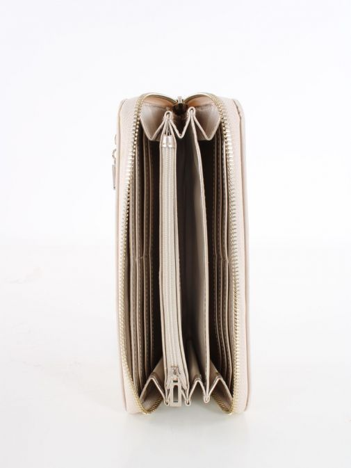 Inside image of Guess Heyden Quilted Maxi Wallet in Stone