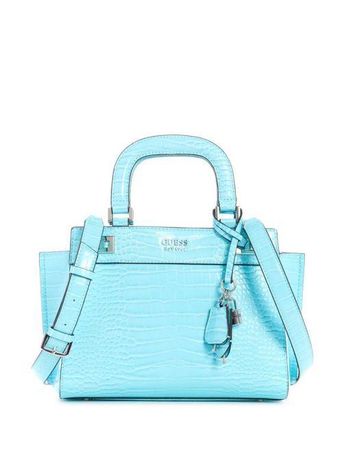 Front image of Guess Katey Croc Print Handbag in Aqua