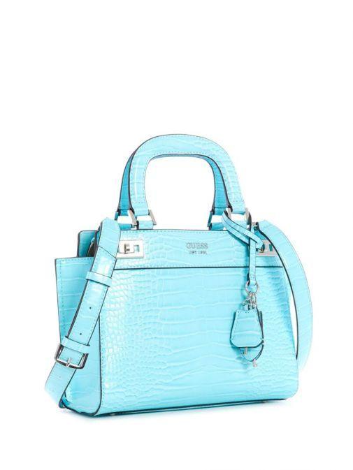 Side image of Guess Katey Croc Print Handbag in Aqua