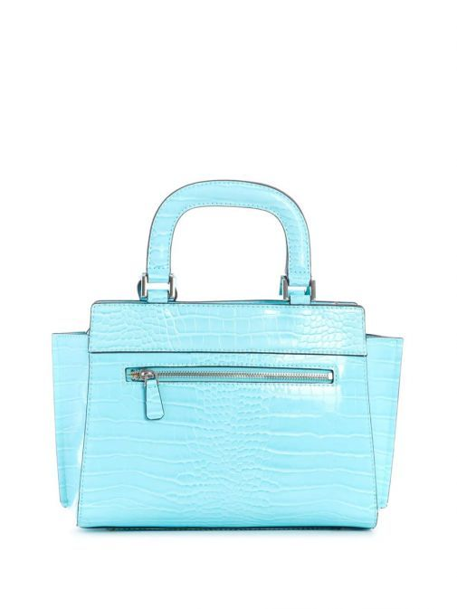Back image of Guess Katey Croc Print Handbag in Aqua