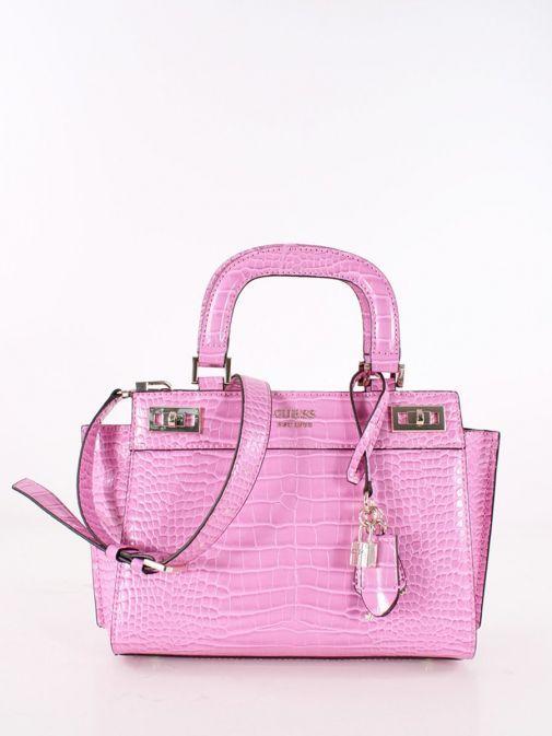 Front image of Guess Katey Croc Print Handbag in Pink