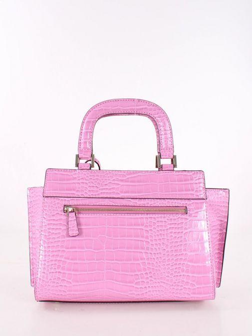 Back image of Guess Katey Croc Print Handbag in Pink