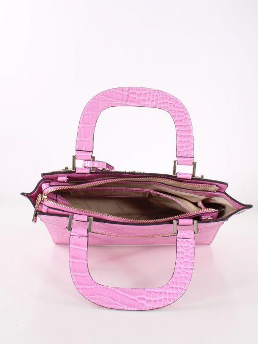 Inside image of Guess Katey Croc Print Handbag in Pink