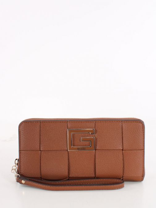 Front image of Guess Liberty City Braided Maxi Wallet in Brown
