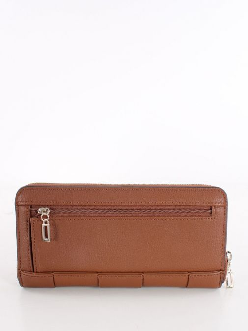 Back image of Guess Liberty City Braided Maxi Wallet in Brown