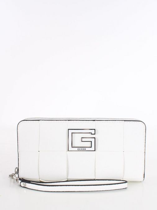 Front image of Guess Liberty City Braided Maxi Wallet in White