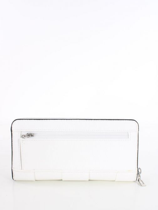 Back image of Guess Liberty City Braided Maxi Wallet in White