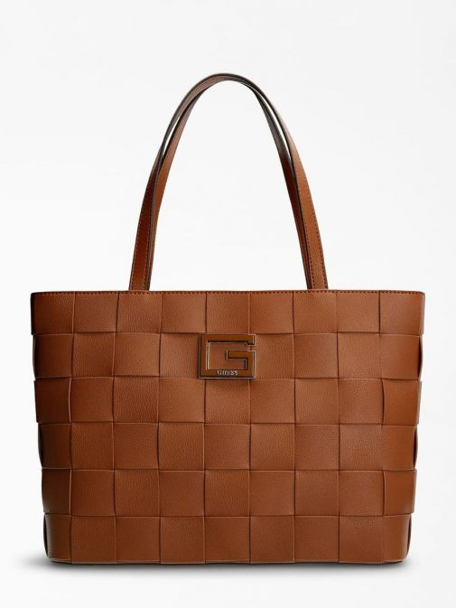 Front image of Guess Liberty City Braided Shopper in Cognac Brown