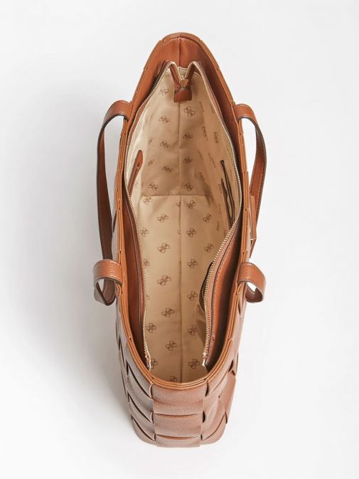 Inside image of Guess Liberty City Braided Shopper in Cognac Brown