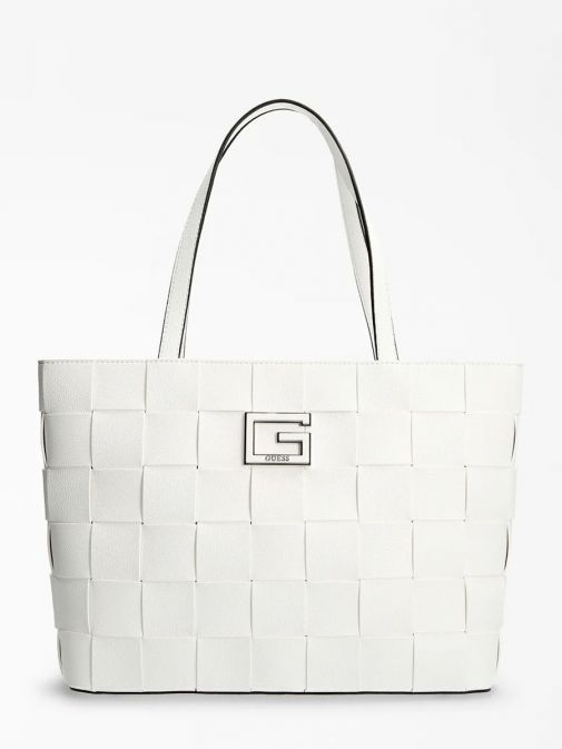 Front image of Guess Liberty City Braided Shopper in White