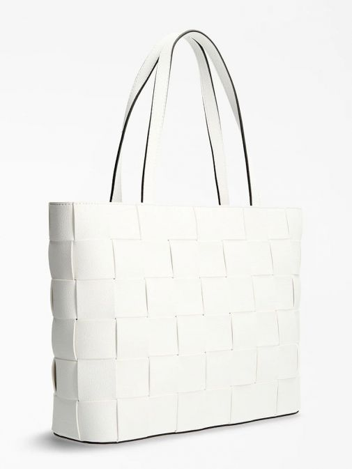 Back image of Guess Liberty City Braided Shopper in White