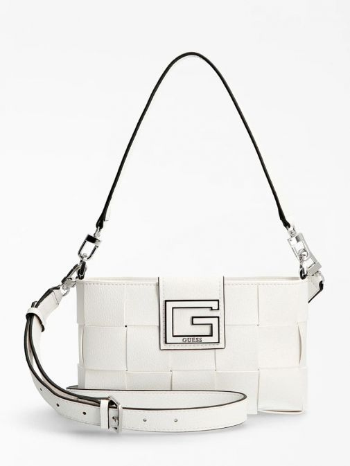 Front image of Guess Liberty City Braided Shoulder Bag in White