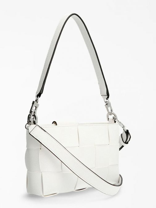 Back image of Guess Liberty City Braided Shoulder Bag in White