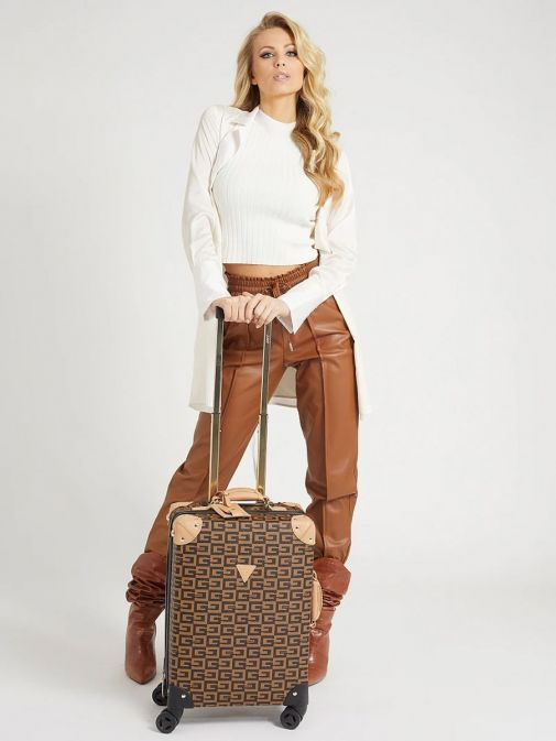 Model with Guess Logo Lettering Print Suitcase in Brown