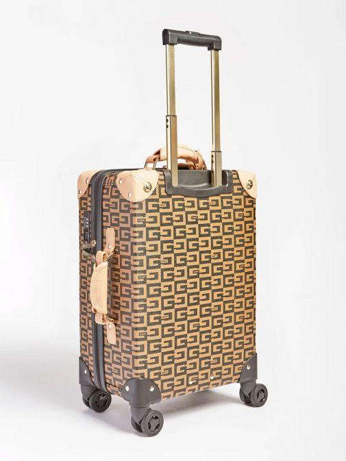 Back shot of Guess Logo Lettering Print Suitcase in Brown