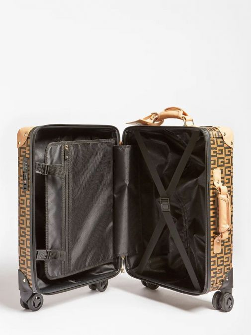 Inside shot of Guess Logo Lettering Print Suitcase in Brown