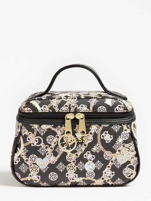 front image of Guess Milene 4G Peony Logo Vanity Case in Black