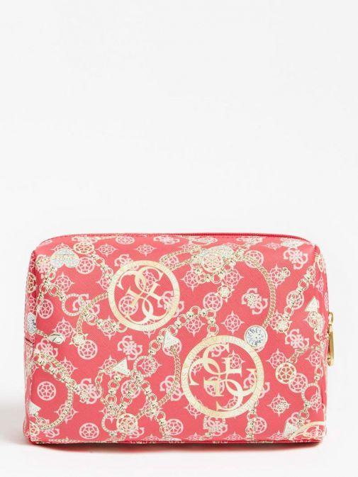 Back image of Guess Milene 4G Peony Logo Vanity Case in Fuchsia Pink