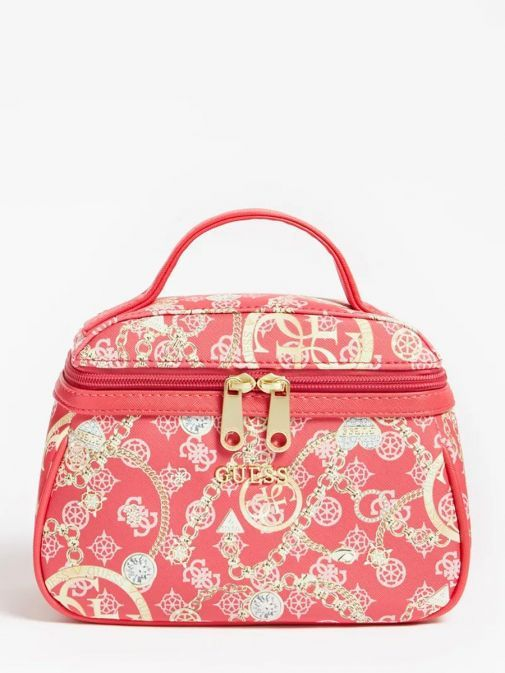 Front image of Guess Milene 4G Peony Logo Vanity Case in Fuchsia Pink
