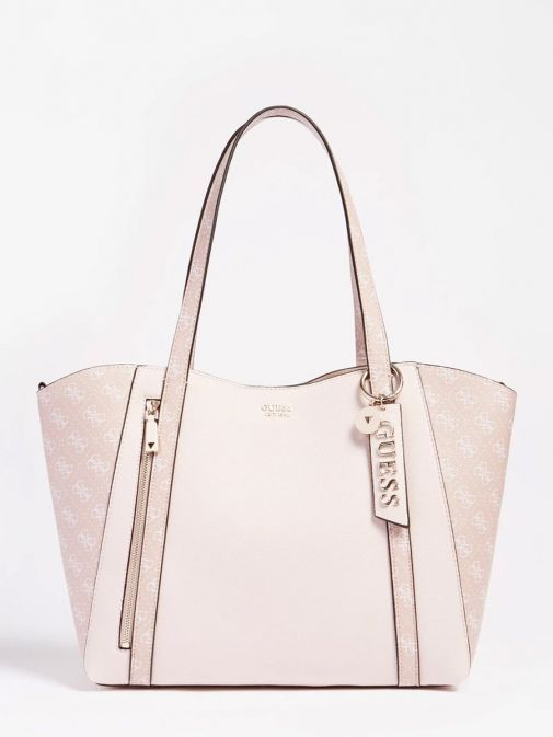 Front image of Guess Naya Shopper Logo Pochette in Pink Multi