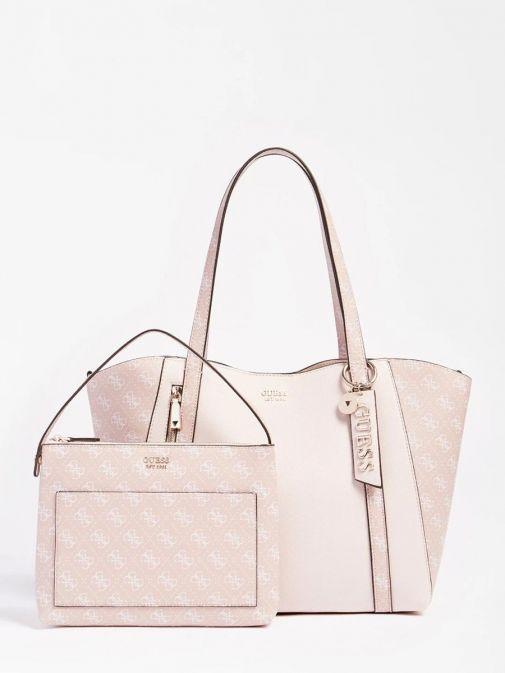 Front image of Guess Naya Shopper Logo Pochette in Pink Multi showing pochette beside main bag