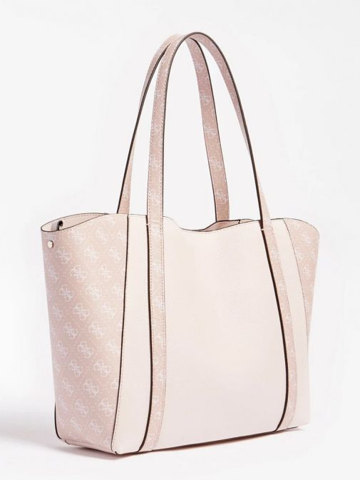 Side image of Guess Naya Shopper Logo Pochette in Pink Multi