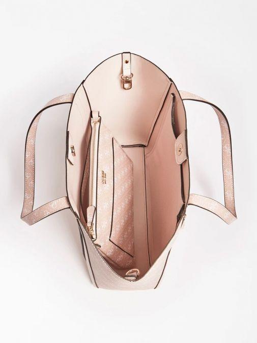Top image of Guess Naya Shopper Logo Pochette in Pink Multi